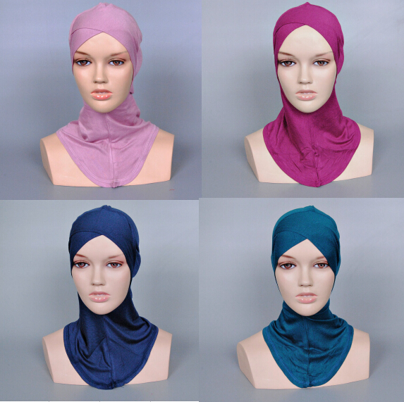 Ladies printe pure color muslim cross inner hats caps cotton hijab modal Render cap 21 color