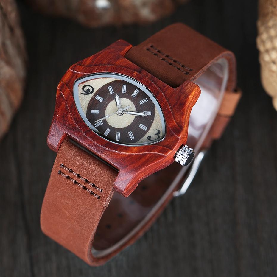 2017 Retro Red Wood Watch Creative Eyes Design Unique Men Women Natural Wooden Quartz-watch Genuine Leather Handmade Unisex Christmas Gifts (8)