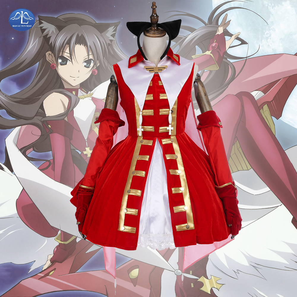 MANLUYUNXIAO Hot Sale Fate/Stay night Costume Tohsaka Rin Dress Magic Ruby Cosplay Costume Carnival Halloween Costumes for Women