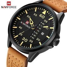 2017 Nouveau NAVIFORCE De Luxe marque Hommes Armée Militaire Sport Montres Hommes de Quartz Horloge Homme En Cuir Imperméable À L'eau Montre-Bracelet