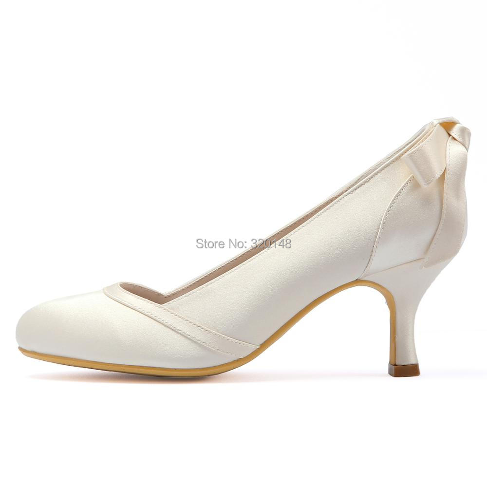 88dd818676 US $45.57 14% OFF|Woman shoes wedding bridal Mid heel White Ivory Round Toe  Bows slip on Satin lady girls bride prom party evening pumps HC1804-in ...