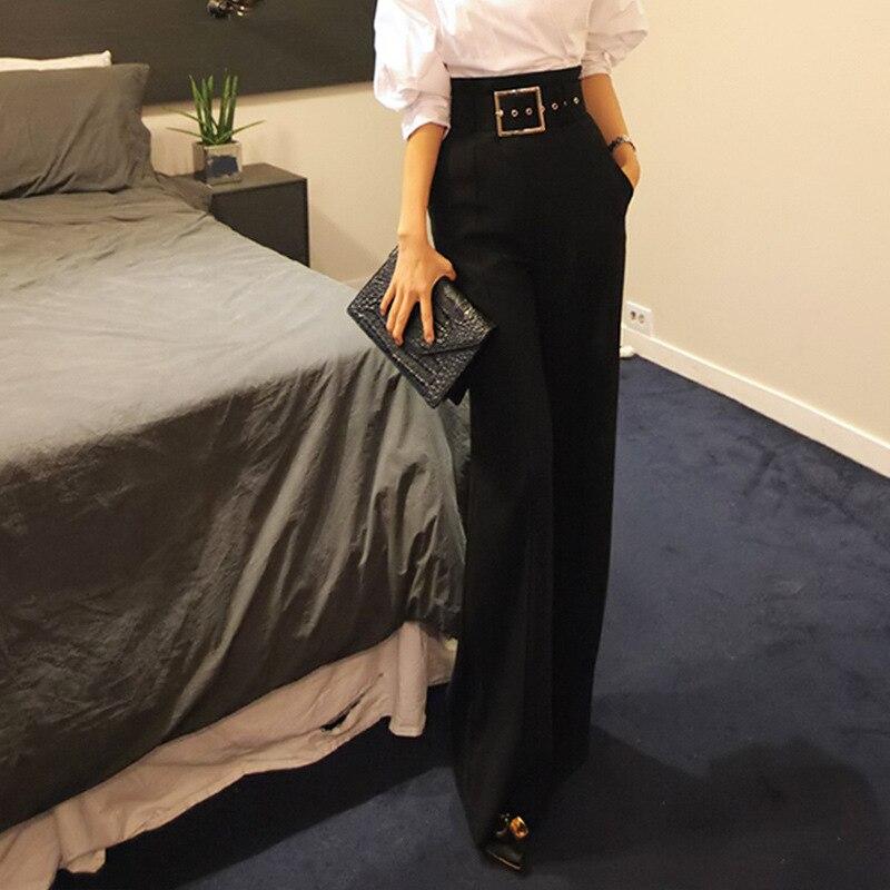 Womens High Waist Loose Wide Leg Pants Autumn Women Pants Wide Leg Culottes Pockets Casual Long Trousers Plus Size S-XL