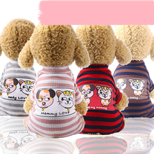 Cute Pet Clothes Striped Dog Clothing Soft Couple Models Cat  Stretch T-shirt Costume Small Pajamas