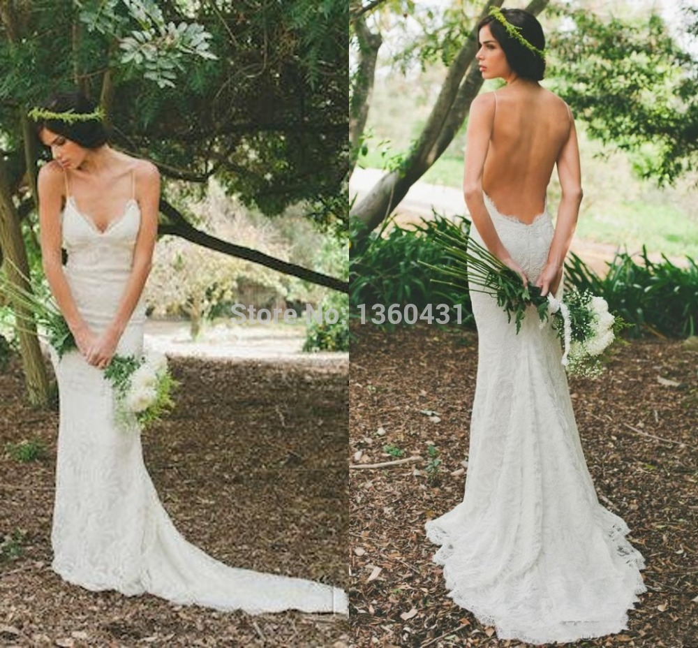 Free Shipping 2019 New Elegant Lace Mermaid Wedding Dresses With Open Back Sweep Train Spaghrtti Straps Bridal Gowns HU3191