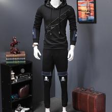 Мужской спортивный костюм, зимняя куртка с капюшоном из чистого хлопка, штаны, толстовка, комплект из 2 предметов, толстовки