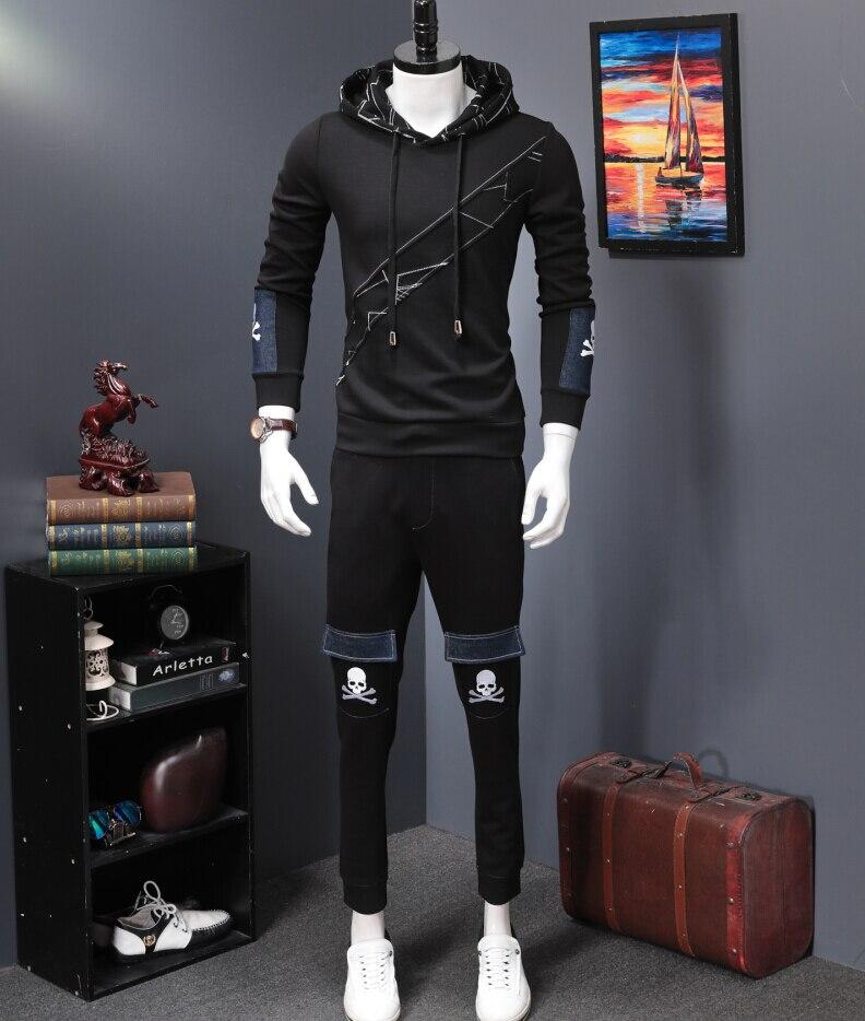 Men Tracksuit Winter pure cotton Hood Jacket Pants Sweatshirts 2 Piece Set Hoodies