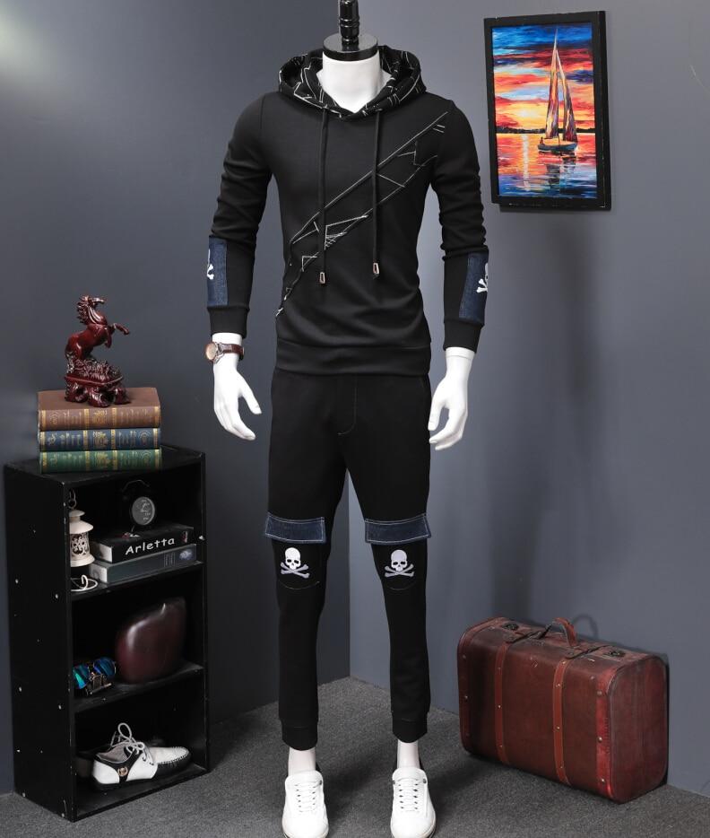 ผู้ชาย Tracksuit ฤดูหนาวผ้าฝ้าย Hood เสื้อกางเกงเสื้อ 2 ชิ้นชุด Hoodies-ใน ชุดผู้ชาย จาก เสื้อผ้าผู้ชาย บน   1