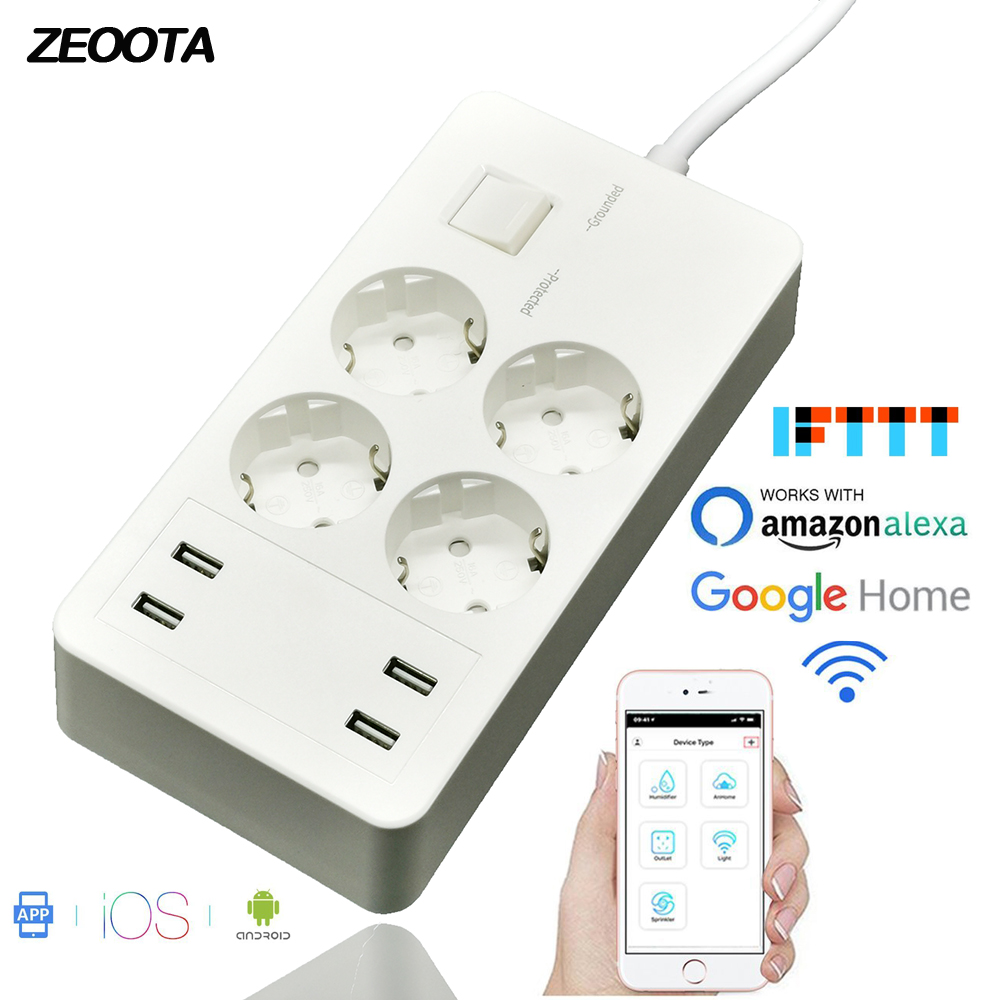 Wifi Smart Power Strip Surge Protector Extension 4 Outlets EU Plug Sockets with USB Charger Adapter