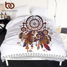 Beddingoutlet Hipster Cat Air Duvet Cover Dreamcatcher Bulu Seprai Bohemian Cetak Penghibur Edredom Cover Queen(China)