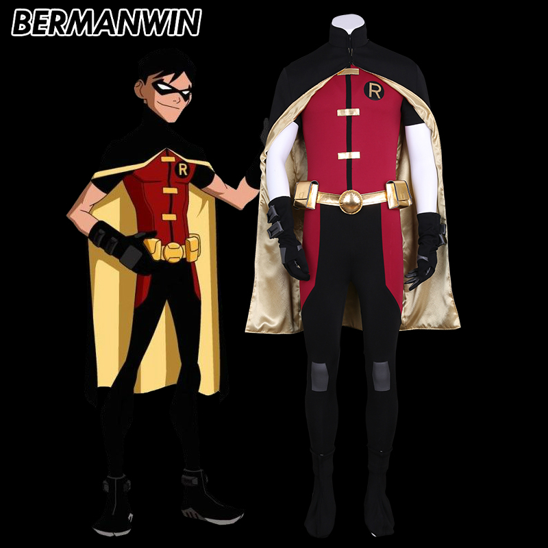 BERMANWIN High Quality Young Justice Robin Costume Full Set Adult Men Robin Halloween Cosplay Costume