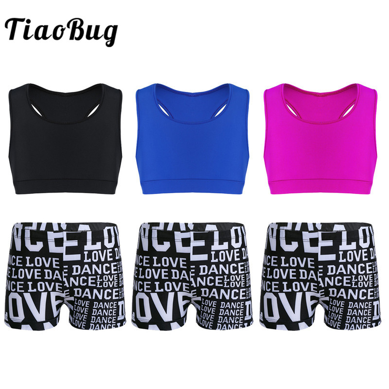 TiaoBug Girls Tankini Tank Top Letters Printed Shorts Set Girls Gymnastic Shorts Top Suits Ballet Party Workout Kids Dance Wear