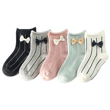 5Pairs / Lots 2019 spring and autumn models cotton childrens socks new cute bow baby
