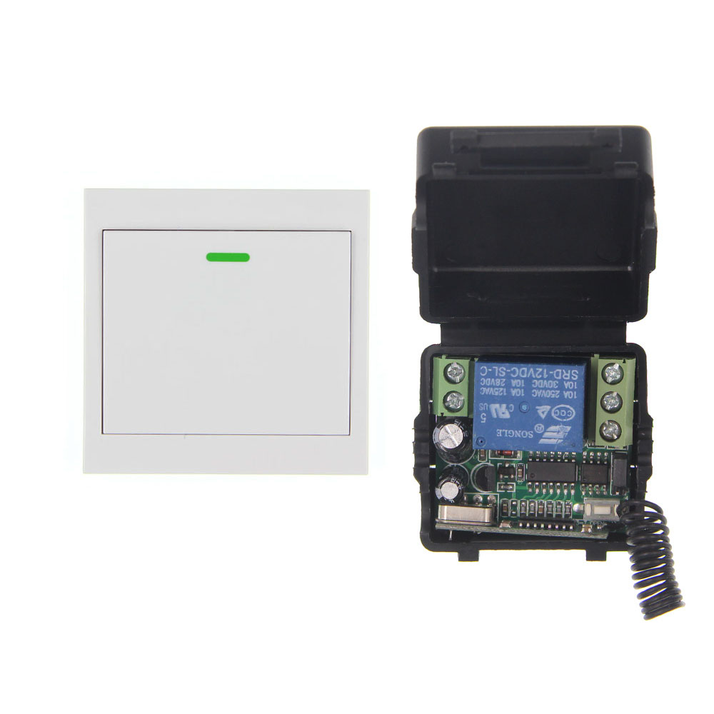 Mini Size DC 12V 1CH 1CH 10A RF Wireless Remote Control Switch System, (Receiver+86 Wall Panel Transmitter) ,315/433.92 access door control system 12v 1ch wireless remote control switch system transmitter receiver mini size 315 433mhz