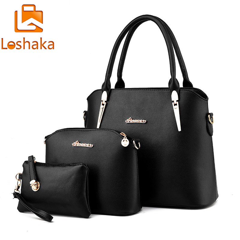 цена на Loshaka Women Composite Bags Ladies Casual Tote Shoulder Bag Woman Brand PU Leather Handbag Designer Crossbody Bolsas