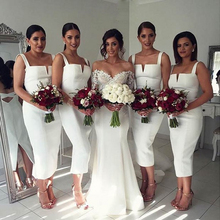 White Square Collar Mermaid Bridesmaid Dress Tea Length 2016 Formal Wedding Party Dress Back Split vestido
