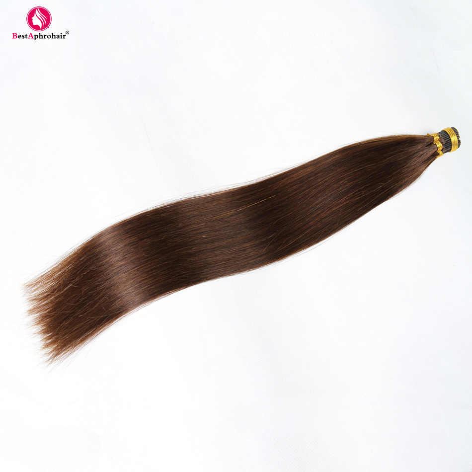 """Афро-парик бразильские прямые волосы кератин I Tip волосы для наращивания 0,5 г/локон 18 """"-24"""" не Реми 100% человеческие волосы 50 г/лот мягкие и шелковистые"""