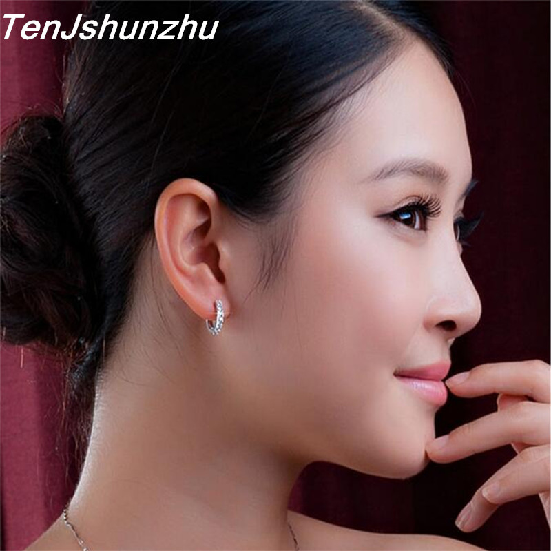 925 Sterling Silver Hypoallergenic Earrings Zircon Stud Earring for Women Girl Simple Jewelry Brincos Joyas De Plata 925 EH056