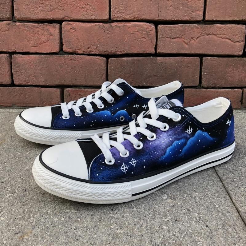 Wen Izvorni ručno oslikane cipele Dizajn Custom Stars Blue Galaxy - Tenisice - Foto 2