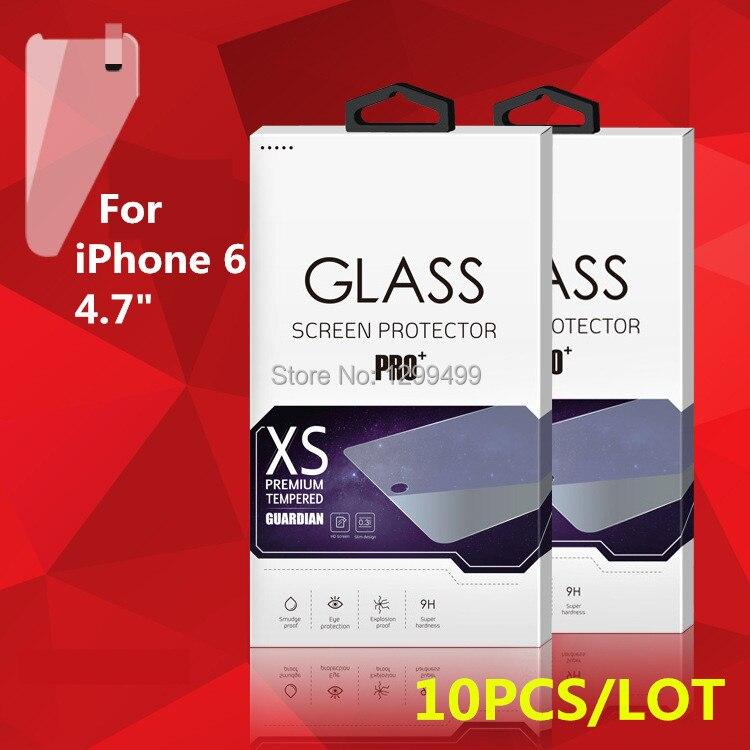 """imágenes para Comercio al por mayor 10 unids/lote vidrio templado film protector de pantalla para iphone 5 5s se 6 6 s/7 4.7 """"/iPhone7 Plus Con Niza Paquete al por menor"""