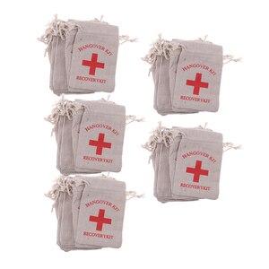 Image 2 - 50 복구 숙취 키트 가방 암탉 파티 응급 처치 가방 모슬린 호의 가방 13x9 cm