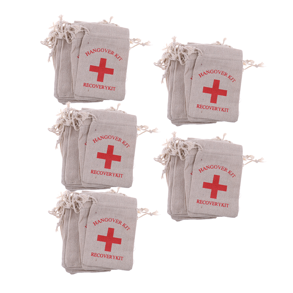 Image 2 - Pieces of 50 Recovery Hangover Kit Bags Hens Party First Aid Bag Muslin Favor Bag 13x9 cm-in Gift Bags & Wrapping Supplies from Home & Garden