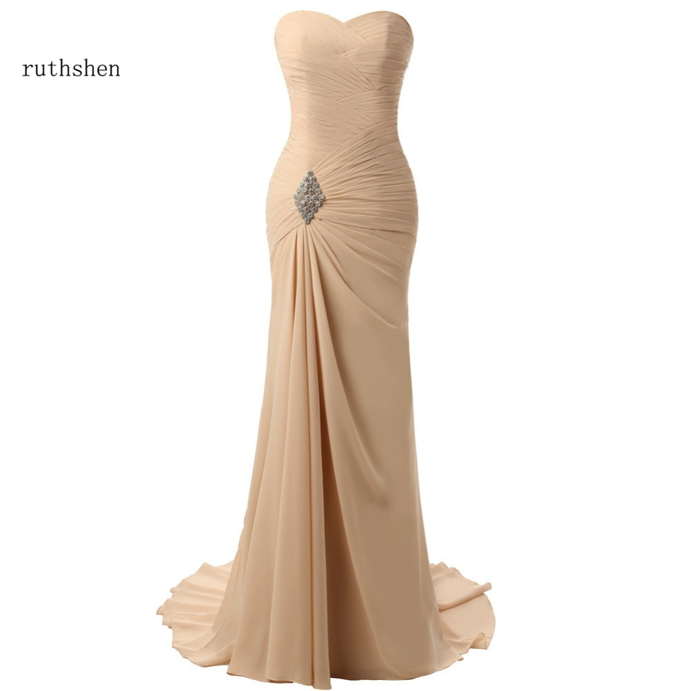 ruthshen Charming Champagne Evening Dresses Mermaid Pleated Chiffon Elegant Long Evening Gown Prom Dress Vestidos De