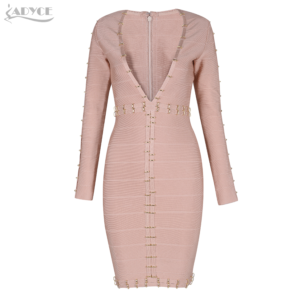 Adyce New Bandage Dress 2018 Sexy Metals circles Embellished Runway Dresses Club wear Celebrity Evening Party Dress Vestidos