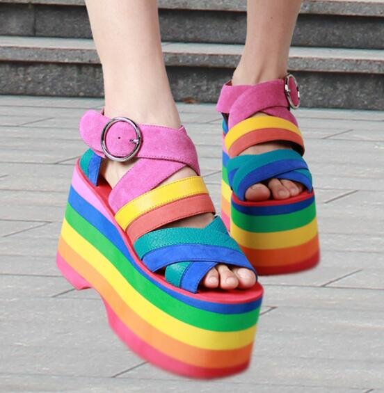 Summer New Colorful Gladiator Sandals Women 2017 Strap High Heels Wedges Dress Shoes Woman Rome Style Platform Sandals Botas phyanic 2017 gladiator sandals gold silver shoes woman summer platform wedges glitters creepers casual women shoes phy3323