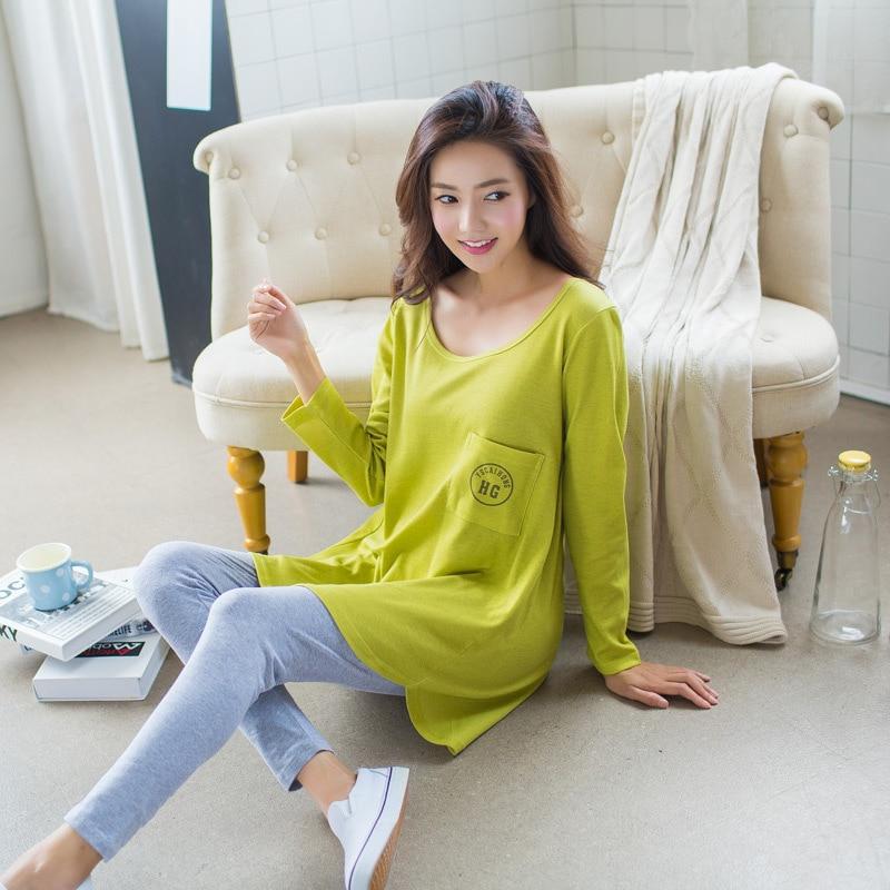 e5b1e161ab LIKEPINK 2017 Pyjamas Women Pajamas Sets Cotton Pijama Mujer Pocket Stitch  Femme Long Sleeve Female Yellow Green Sleepwear M~XL-in Pajama Sets from  Women s ...