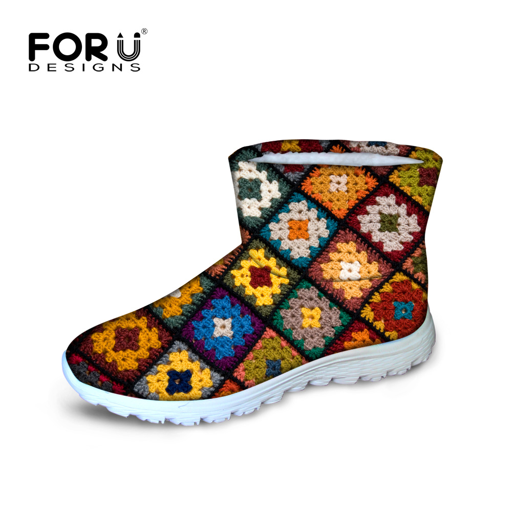 ФОТО Vintage style women winter snow boots 3d print pattern waterproof non slip warm ankle botas for ladies rubber botte femme