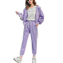 Autumn tracksuits stripes two piece set hoodies casual sports suit women