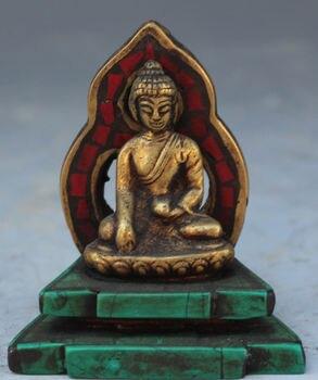 Tibet Buddhism Bronze Turquoise Coral Shakyamuni Sakyamuni Buddha Statue