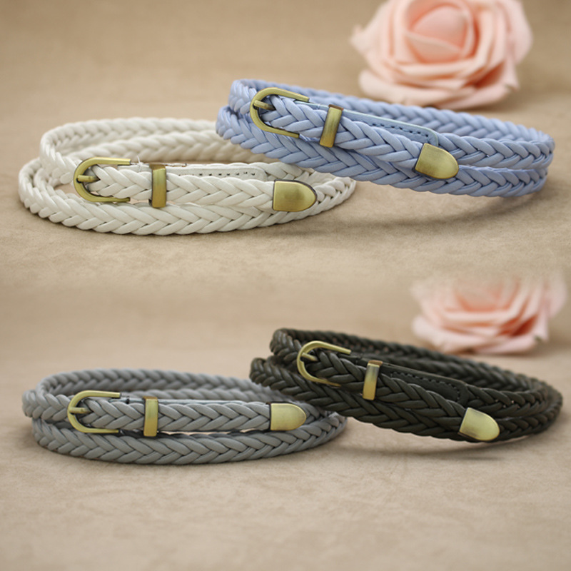 Active ladies woven belt Thin belt decoration Female classic wild woven belt buckle belt YEW1 YEW9