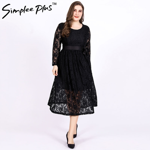 Aliexpress.com : Buy Simplee Plus Black Lace Long Dress Plus Size ...