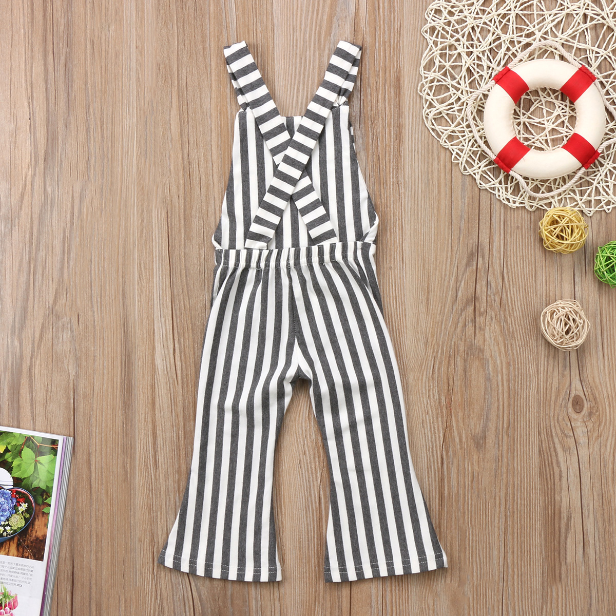 2f8d8e2a95 Toddler Kids Baby Girl Stripe Brace Pants Overalls Long Loose Flare Pants  Backless Overall Jumper Girls Outfit-in Pants from Mother   Kids on  Aliexpress.com ...