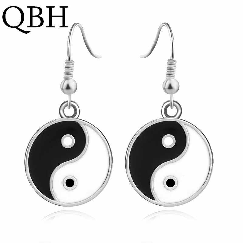 EK1009 New Fashion Black White Tai Chi Drop Earrings For Women Simple Retro Silver Taiji  Dangle Earrings Statement Bijoux