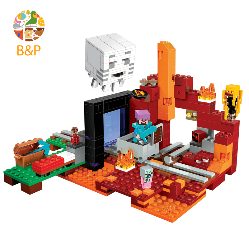 legoing 21143 477pcs My worlds Series The Nether Portal Model Building Block Brick Set Toys For Children Miniecraft 10812 Gift lepin my world minecraft 18038 527pcs the nether portal building blocks bricks enlighten toys for children compatible with 21143