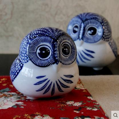 bule and white coruja ceramica owl figurines home decor ceramic kawaii ornament crafts room decoration porcelain figurine|figurine home decor|figurine owlfigurines porcelain - AliExpress