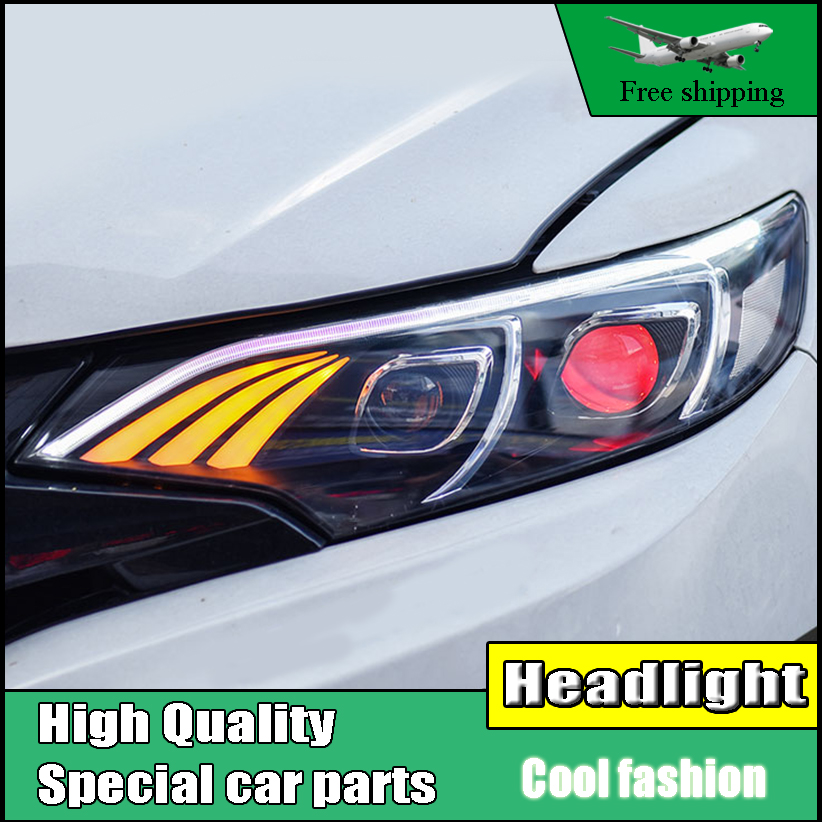 Car Styling Headlight For Honda Fit GK5 headlights 2014-2016 head lamp LED DRL front light Bi-xenon with Lens HID kit headlamp polishing paste kit diy headlight restoration car plastic restore car head light motor cleaner renew lens polish kit