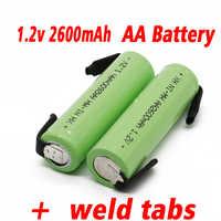 Ni-mh 1,2 V AA akku 2600 mah nimh zelle Grün shell mit schweißen tabs für Philips elektrische rasierer zahnbürste