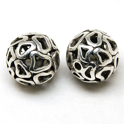 50 pc hollow round with heart pattern filigree cast beads 25mm