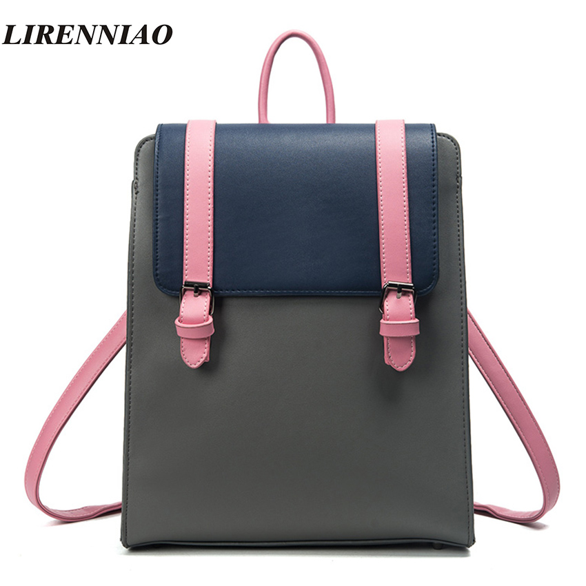цены  LIRENNIAO Brand Fashion Panelled Backpack Women Bag Preppy Style Backpacks For Teenage Girls Schoolbags Hot Sale Belt Back Pack