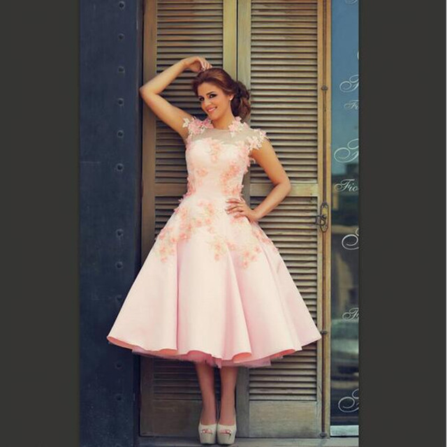 Sheer Cap Sleeve Vintage Short Pink Wedding Dresses 2016 New A Line Satin  Tea Length