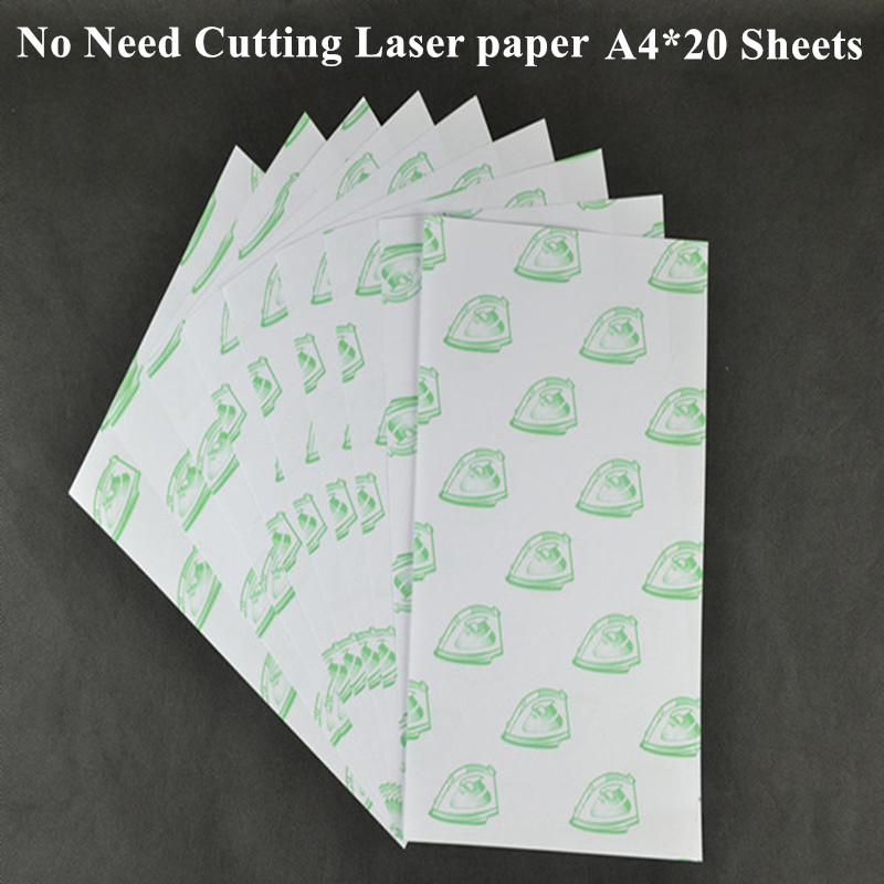 (A4*20pcs) Self Weeding Paper Laser Heat Transfer Printing Paper For T Shirt Light Color Thermal Transfers Papel Freeshipping