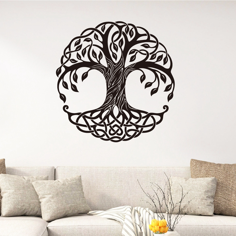 US $4 84 31% OFF|Tree Of Life Wall Art Decals Yoga Wall Art Decor , Mandala  Circle Trees Vinyl Wall Art Sticker Mural Home Room Wall Decoration-in