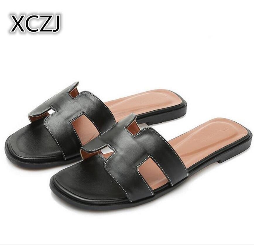 XCZJ New 2018 fashion Women Casual H letter Slip On Slides Beach shoes Flip Flops cool flip flop Women Flat Casual Shoes Bohemia