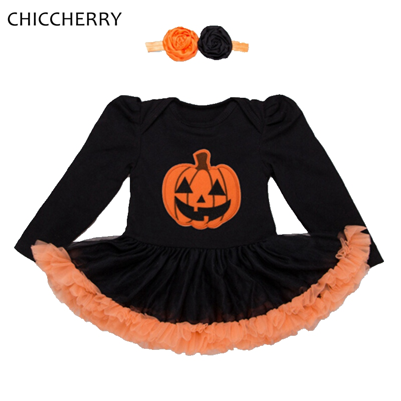 Baby Pumpkin Halloween Costumes Long Sleeve Lace Tutu Girls Party Dresses Headband Vestido Infantil Cute Toddler Girl Clothes