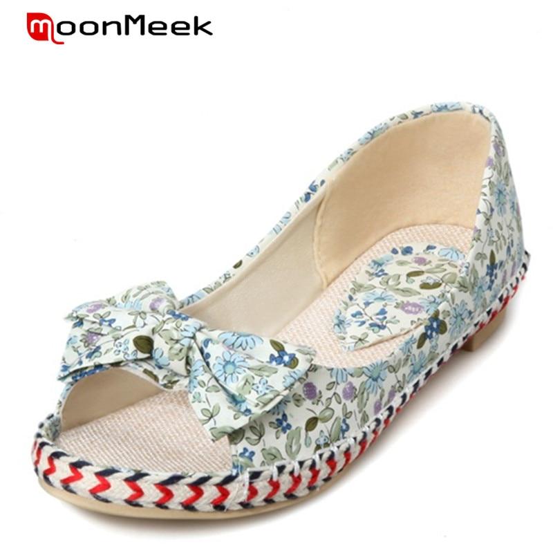 8fdd620b88cb MoonMeek 2018 Hot Sale New Peep Toe Women Flats Single Shoes Big Size 33-43 Summer  Shoes Bowtie Canvas 4 Colors