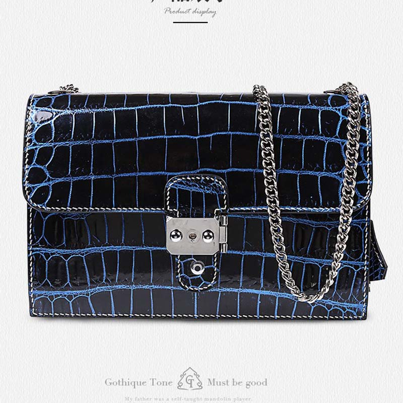 Gete new crocodile skin belly female bag worn one shoulder bag leather handbag female lock chain women bag