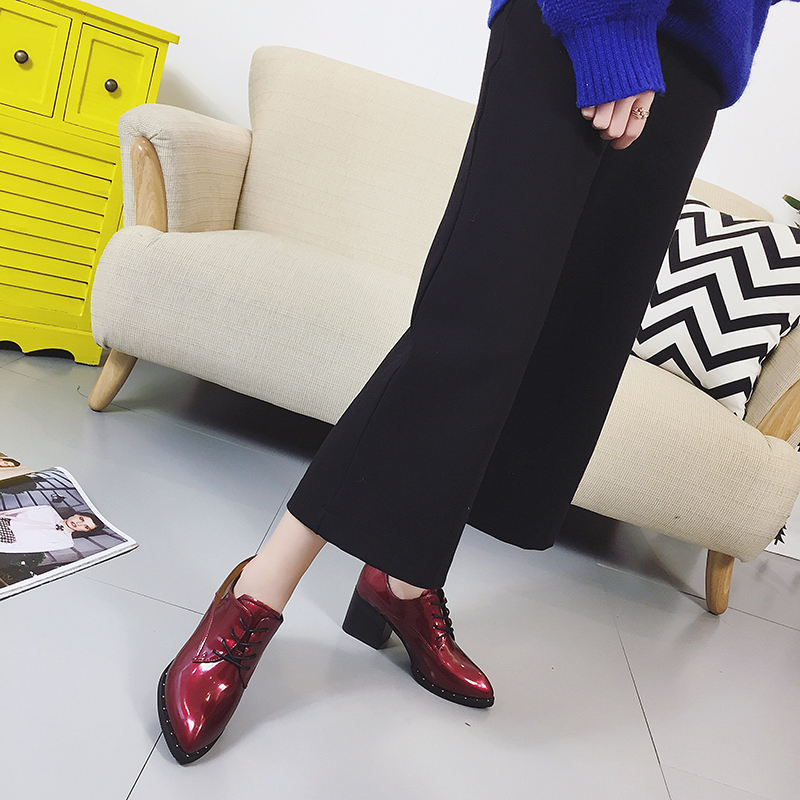 2017 patent leather boots women spring and autumn new single shoes Martin boots female pointed lace with wild rough with pointed 2016 new spring and summer fashion thick with the heel lace leisure wild white shoes student shoes for women boots